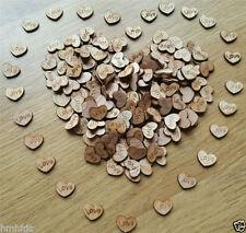 100 Streudeko Holz Teile Herz Tischdeko Hochzeit Dekoherzen MINI Herz Dunkel
