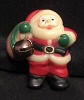 Vintage Plastic SANTA CLAUS Pin Brooch With Present Bag & Bell