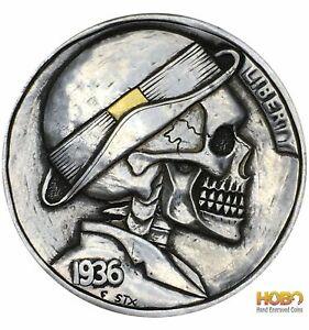 "Hobo Nickel Coin 1936 Buffalo ""Golden Ribbon"" 24k Gold Hand Engraved Stephenxu"