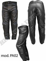 MENS BLACK LEATHER MOTORBIKE/MOTORCYCLE TROUSERS with CE Protection-Mega Sale