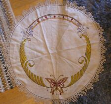 Arts and Crafts Mission Embroidered Linen Table Cloth Topper Textile, Butterfly
