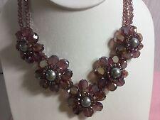 Genuine Cristallo Viola Multi Fiore Collana Grandi Perle spumante Glamour