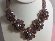 Genuine Crystal purple multi flower necklace large pearls glamorous sparkling