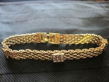 "Gold tone and Rhinestone Chain Bracelet 7"" Long"
