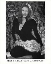 MISSY HYATT SIGNED PHOTO WITH AWF TITLE BELT WRESTLING WCW WWF WWE ECW
