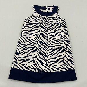 Janie and Jack Girls Dress Size 5 Blue White Animal Print Sleeveless Round Neck