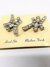 Abstract Rhinestone Earrings Hand Set Rhodium Finish Clip On Vintage