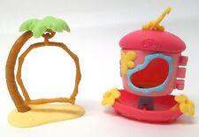 Littlest Pet Shop LPS Pink Bird House + Palm Tree Perch Accessories - Lot Of 2