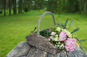 Wickerfield Rustic Antique Shallow Style Natural Wicker Log Flower Basket