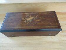 Antique Swiss Music Box 6 Tunes inlaid case music motif See Video