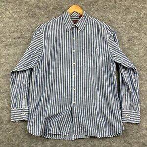 Izod Mens Button Up Shirt Size L Large Blue Striped Long Sleeve Collared 9.34