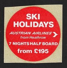 "Vintage Austrian Airlines Ski Holidays 2 1/2"" Dia Peel & Stick Label"