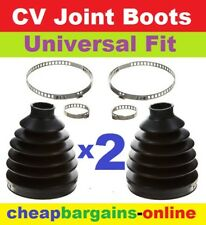2 CV JOINT BOOTS UNIVERSAL FIT STRETCH RUBBER BOOTS & CLAMPS CV JOINT GAITERS
