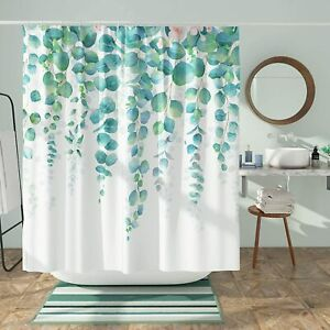 Watercolor Weeping Round Leaves Pink Floral Floral Boho Fabric Shower Curtain