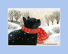 Christmas Cat ACEO Print Enjoying The Snow by Irina Garmashova