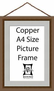 Hanging Handmade Copper Wooden Picture/Photo Frame With Mount - A4 Size by Be...