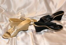 Lot of 2 Vintage Satin Boudoir Slippers Mules Slides Wedge Heels sz 11M