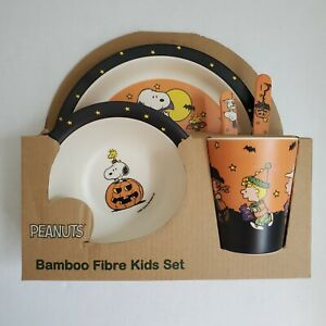 Peanuts Bamboo Kids Set Halloween Plate Setting Snoopy Charlie Brown 5pc NWT