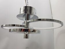 Elegant Chrome Silver 3 Ring Semi Flush Dimmable LED Ceiling Light