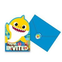 BABY SHARK INVITATIONS PACK OF 8 PARTY FAVOURS SUPPLIES