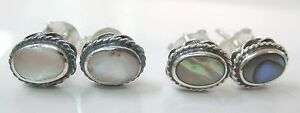 925 STERLING SILVER Abalone PAUA SHELL, White MOP Oval small Stud Earrings -GIRL