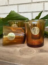 Vintage Duralex Amber Color Juice Glasses Made In France Set Of ( 4 -3 inches )