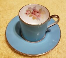 Aynsley Fine English Bone China Teal, Gold Rimmed w/ Single Rose Cup And Saucer