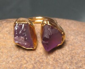 Gold plated brass rough double amethyst ring UK K½-L/US 5.5-5.75. Gift bag.