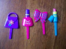 CUP CAKE TOPPER YOUNG GIRL HAIR BOW NAIL POLISH PURSE LIPSTICK PICK NEW 64 PC