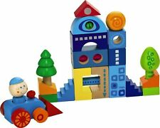 Habatown Blocks - 25 Piece City Themed Building Set with Car, Driver and Trees