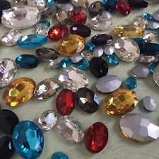 Punto De Colores Mezclados Tamaños de vuelta de Vidrio Cristal Oval Pedrería Strass Chaton 100ps