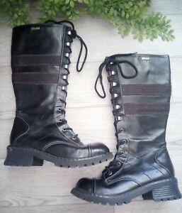 Vintage 90s Y2K MUDD Chunky Platform Tall Zip Up Boots 8