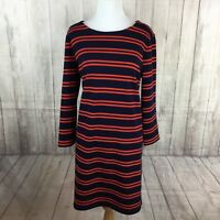 Halogen Women's Navy Blue Red 3/4 Sleeve Stretch Shift Dress Size Large Nautical