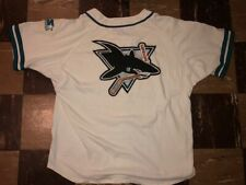 SAN JOSE SHARKS Vtg 1990s Starter BIG LOGO baseball Sewn Jersey NWA jacket L