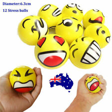 12 YELLOW STRESS BALLS Hand Relief Squeeze Toy Reliever Antistress Soft Smiley S