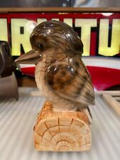 Lovely Vintage Glazed Ceramic Australian Kookaburra Sculpture Sitting on Log