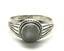 Vintage Sterling Silver 925 Moonstone Cable Twist Halo Split Band Cocktail Ring