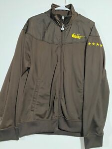 All Stitched Adult Nike Gray Tag Stars Brown Full-Zip Track Jacket. Size Large