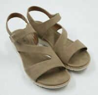 Euro Soft by Sofft Womens Ladies Beige Cross Strap Sandals Shoes Size 7.5M