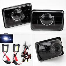 "4X6"" 10K HID Xenon H4 Black Projector Glass Headlight Conversion Pair RH LH"