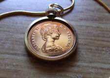 """1980 Canada Copper Maple Leaf Cent Pendant on a 24"""" 18k Gold Filled Snake Chain"""