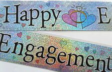 12ft Sparkly Silver Foil Happy Engagement Banner Party Decoration Rings & Hearts