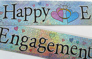 12ft Sparkly Silver Foil Happy Engagement Banner Party Decoration Rings Hearts U