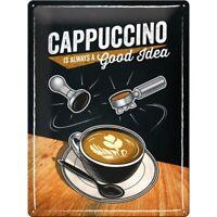 Tin Sign Cappuccino Coffee Metal Sign 40 cm, Shield New
