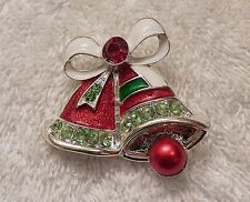 CLASSIC CHRISTMAS PIN BROOCH HOLIDAY BELLS HOLLY SANTA TREE COSTUME STONES CH-4