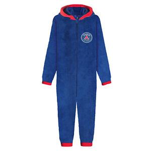 PSG Boys Pyjama All-In-One Hooded Sleepwear Kids OFFICIAL Football Gift