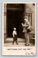 Postal Carrier Mailman & Boy Street Scene Real Photo RPPC Old Postcard