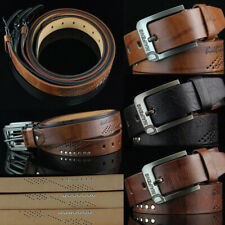 Men's Brown Classic Leather Belt Casual Pin Buckle Waist Belt Waistband Straps