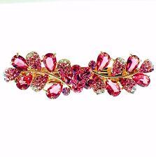 USA BARRETTE use Swarovski Crystal Hair Clip Hairpin Elegant Jeweled PINK K05
