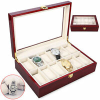 12 Grids Wooden Watch Display Case Storage Box Organizer Jewelry Collection Gift